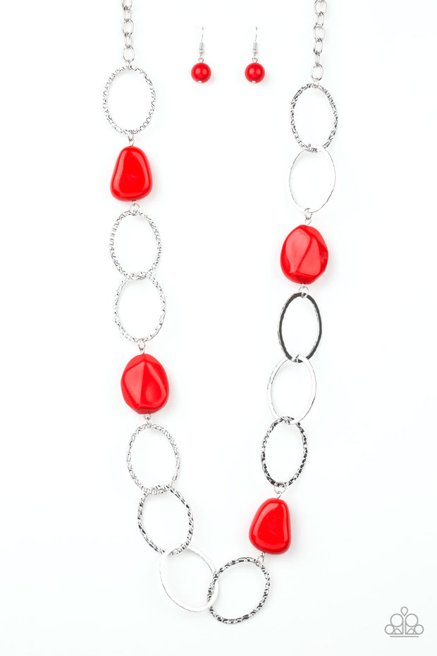 Modern Day Malibu -  Long Red Necklace
