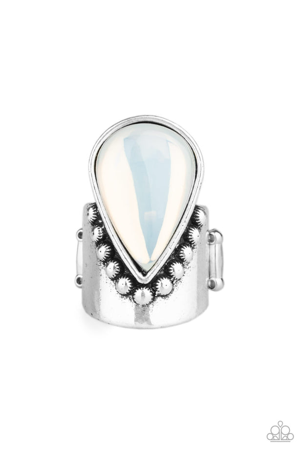 Opal Mist White Paparazzi Ring