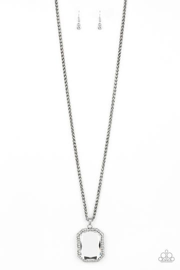 Paparazzi Let Your HEIR Down - White Rhinestone Long Necklace