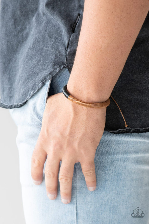 Tracker and Field - Paparazzi - Brown and Black Cording Urban Bracelet