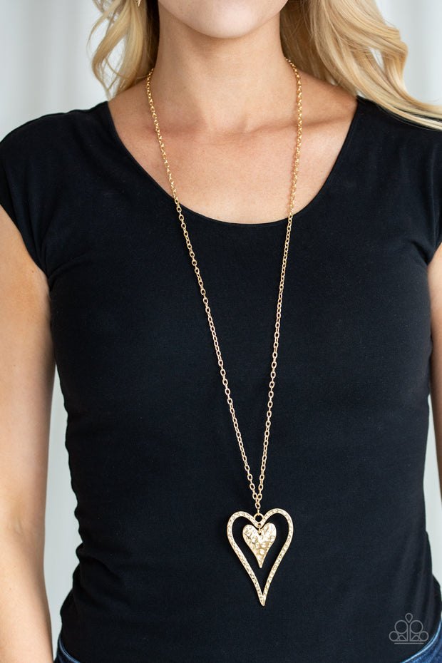 Hardened Hearts - Long Gold Necklace