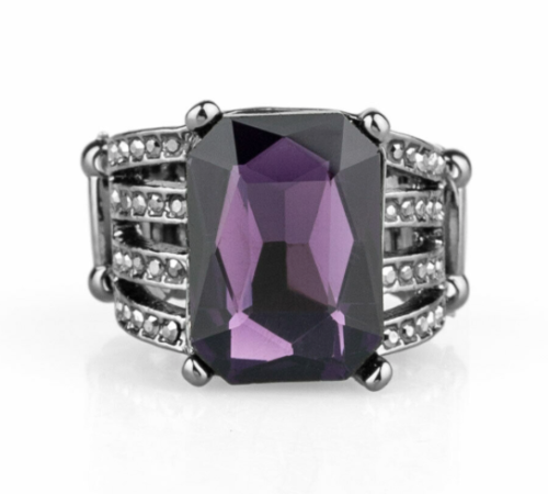 Expect Heavy REIGN - Purple Rhinestone Ring