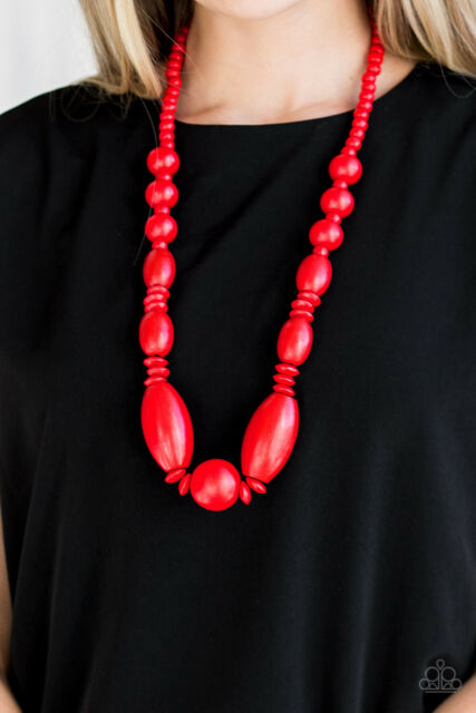Summer Breezin' Red Wood Necklace