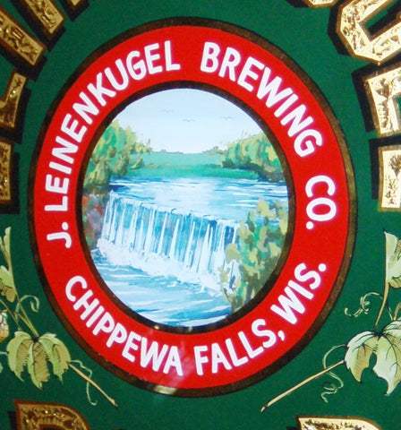 Closeup of Handpainted Waterfall Elements in Leinenkugel Brewing Co ROG Sign