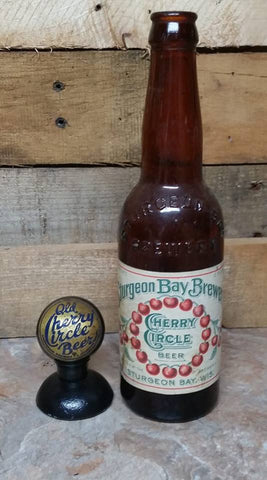 Old Cherry Circle Beer Tap Knob and Bottle