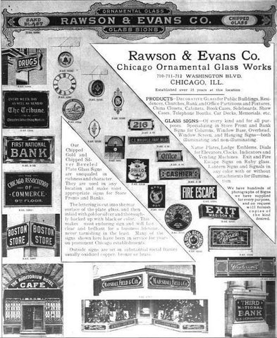 Rawson and Evans Chicago Oranmental Glass Works Product Catalog