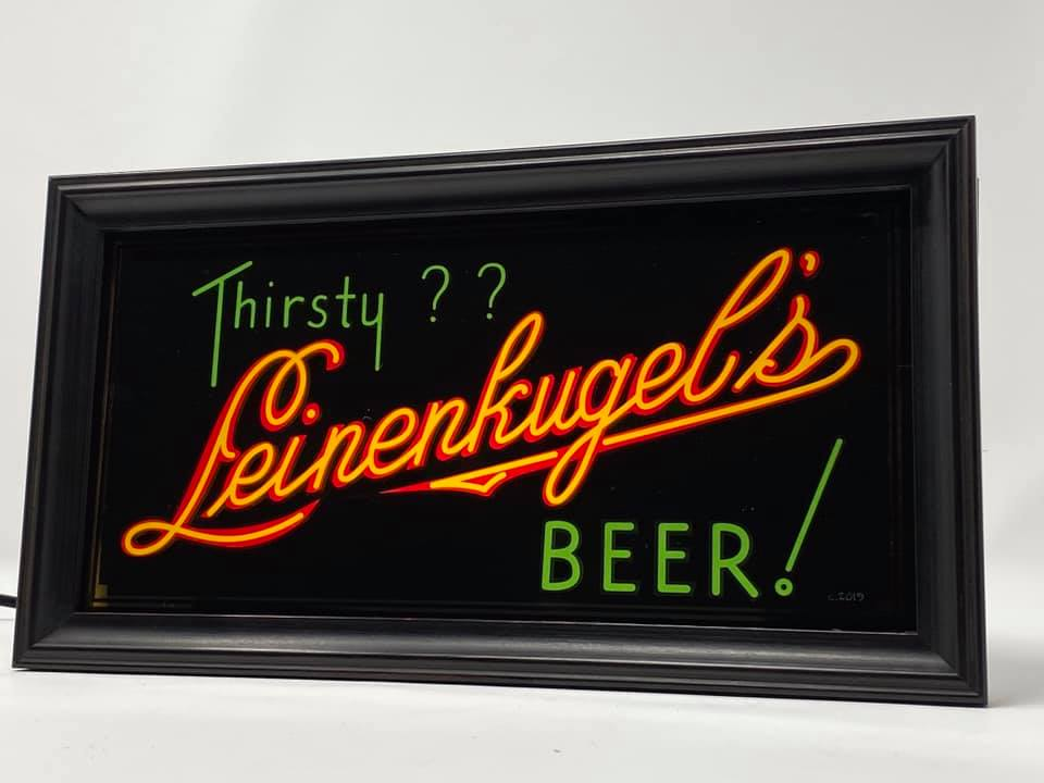 LEINENKUGEL BEER (THIRSTY?) CRYSTAL MANUFACTURING ILLUMINATED SIGN
