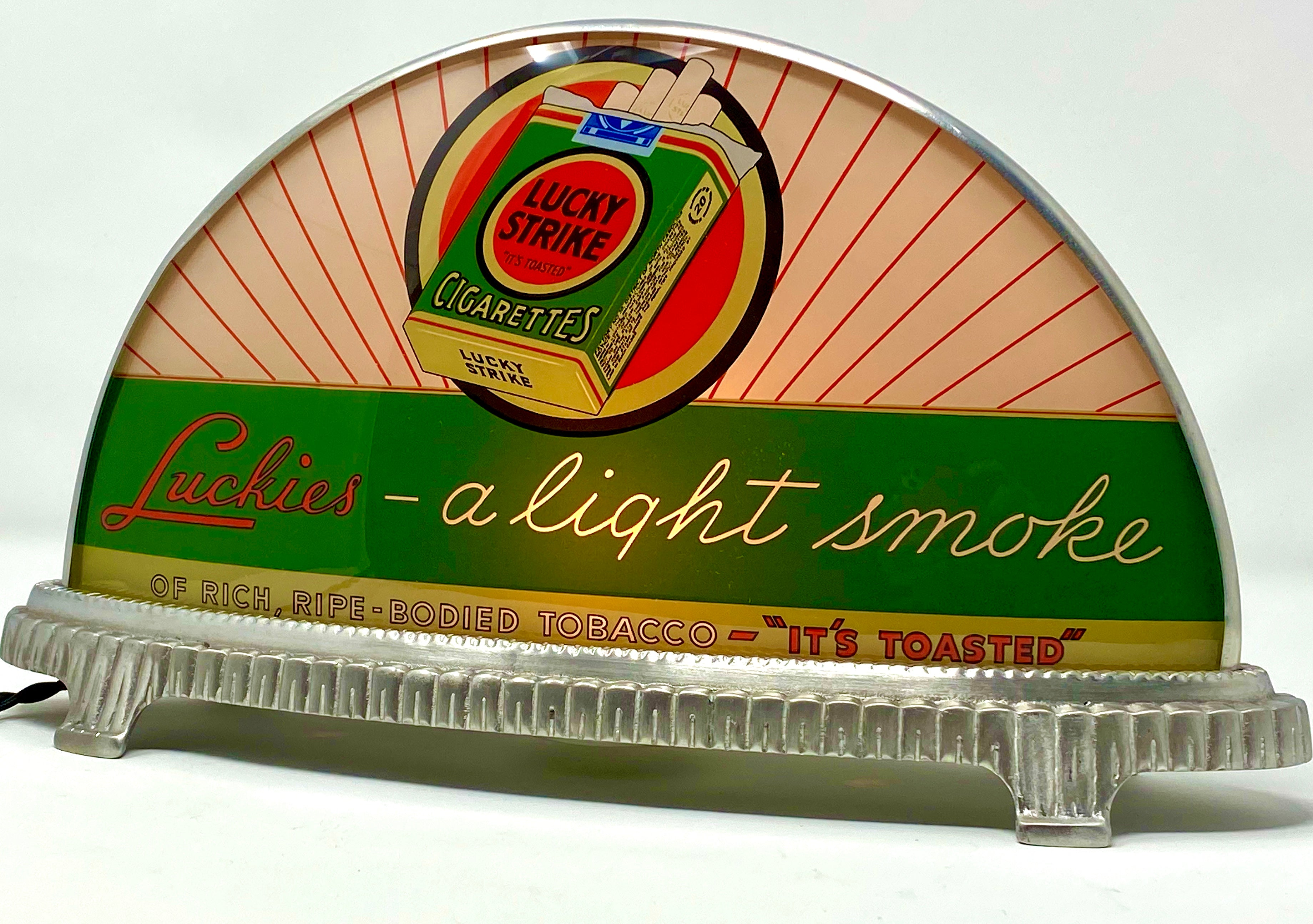 INAUGURAL GILLCO™ LUCKY STRIKES CIGARETTES PORCELAIN REVERSE ON GLASS (ROG) CABLIGHT SIGN