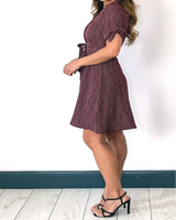 Vestito Nuovo Prugna a pois a chemisier Varie Misure Casual Wine polka dress - Shop in London