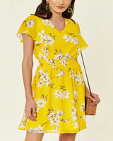 Vestito Nuovo Giallo Stampa a Fiori Taglia S/M e M/L Summer Yellow Floral Dress - Shop in London
