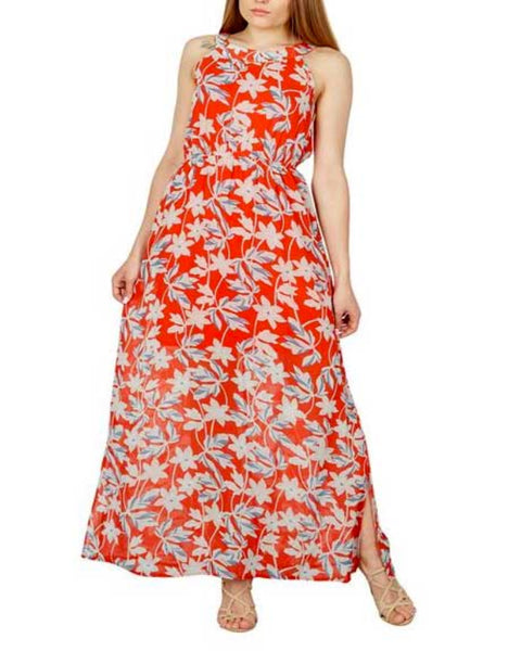 Vestito Inglese Rosso a fiori scollatura Americana Maxi Summer Dress - Shop in London