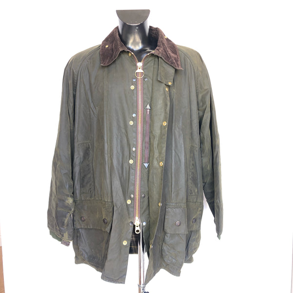 Barbour Giacca Beaufort verde vintage C48/122 cm - Green Waxed jacket - Shop in London