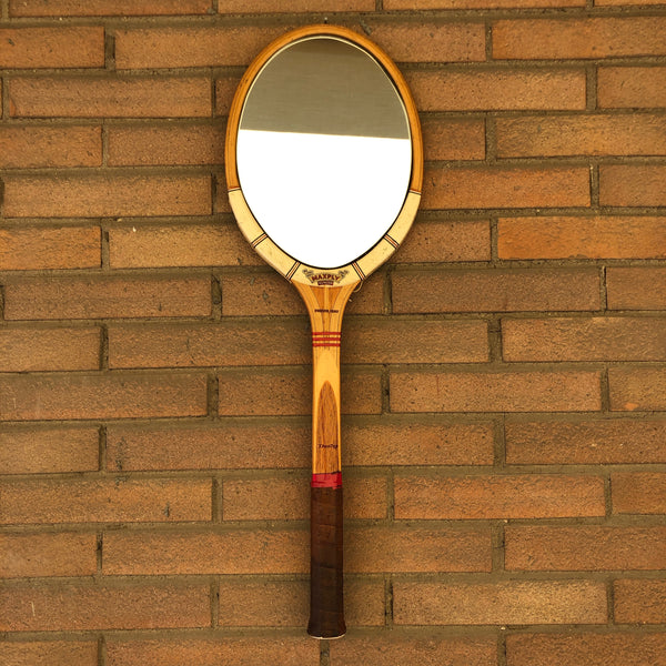 Racchetta da Tennis Vintage Originale in Legno Dunlop con Specchio-Italian Racket Mirror - Shop in London