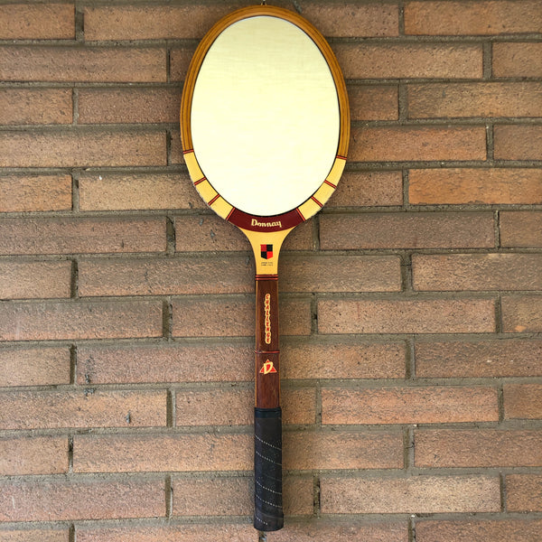 Racchetta da Tennis Vintage Originale in Legno Donnay con Specchio-Italian Donnay Vintage Racket Mirror - Shop in London
