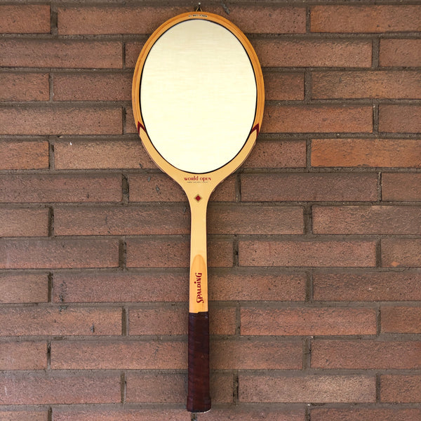 Racchetta da Tennis Vintage Originale in Legno Spalding con Specchio-Italian Spalding Vintage Racket Mirror - Shop in London