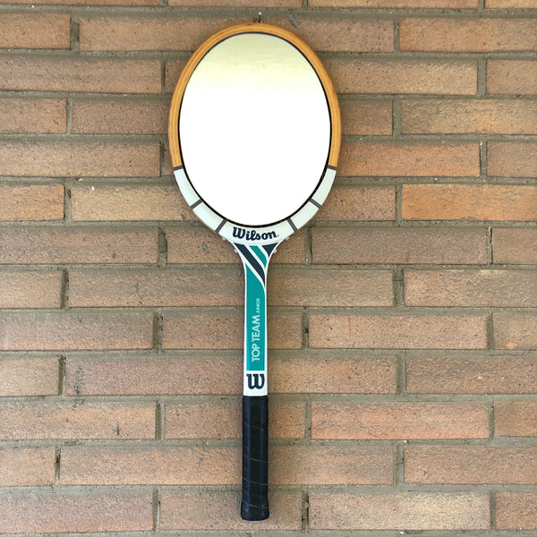 Racchetta da Tennis Wilson Vintage Originale in Legno con Specchio-Italian Racket Mirror - Shop in London