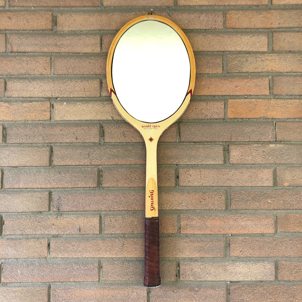 Racchetta da Tennis Spalding Vintage Originale in Legno con Specchio-Italian Racket Mirror - Shop in London