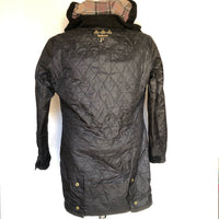 Barbour International parka nero con cappuccio cerato UK 12 - Black waxed Barbour International with hood