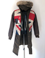 Barbour Piumino verde Union Jack da donna UK 10 Small -Olive wax Oceanic Coat Union Jack