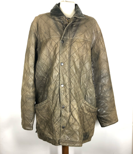 Barbour Giacca vintage in pelle XL verde marrone Green brown leather quilt XL