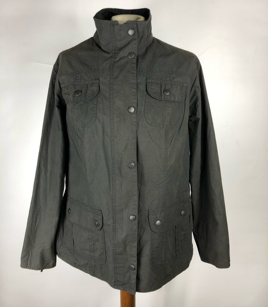 Giacca Barbour corta nero Flyweight Wax jacket UK 16 - Black Wax Utility Jacket Size M