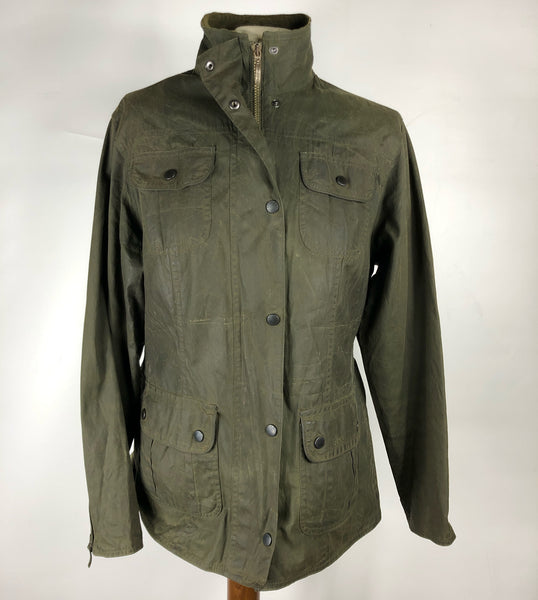 Giacca Barbour corta verde oliva Flyweight Wax jacket UK 12 - Green Wax Utility Jacket Size M