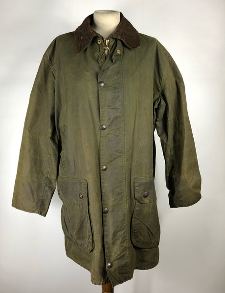 Giacca Barbour Uomo Border 2 corone Verde Vintage Cerata C42/107 cm-Rare 2 crest Green wax jacket