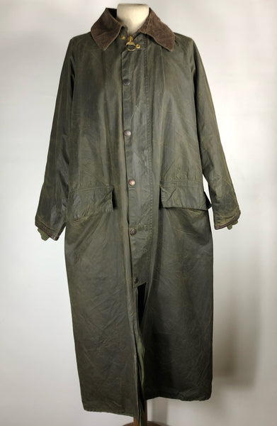 Barbour Burghley Cerato lungo VERDE -RARE AND VINTAGE WAX LONG EQUESTRIAN JACKET Small
