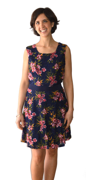 Vestito Blu a rose elasticizzato con cintura dietro la schiena - Navy dress with flowers and belt - Shop in London