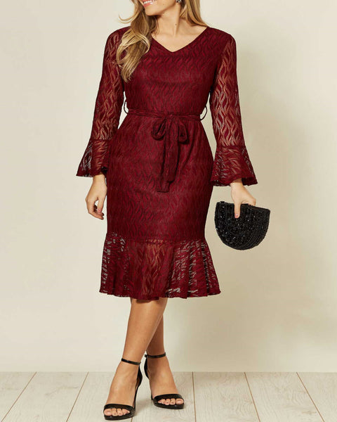 Vestito Bordeaux di pizzo longuette elegante - Midi lace Burgundy dress - Shop in London