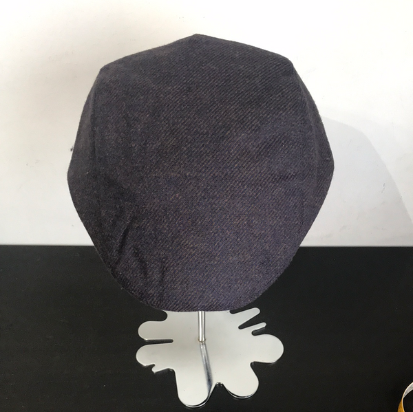 Coppola nuova inglese in lana trama spigata viola - New English Flat cap
