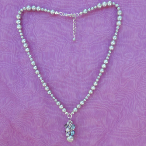 Labradorite and fine pearl necklace