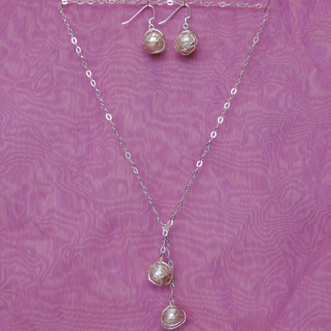 Lariat Set - Natural Pearls