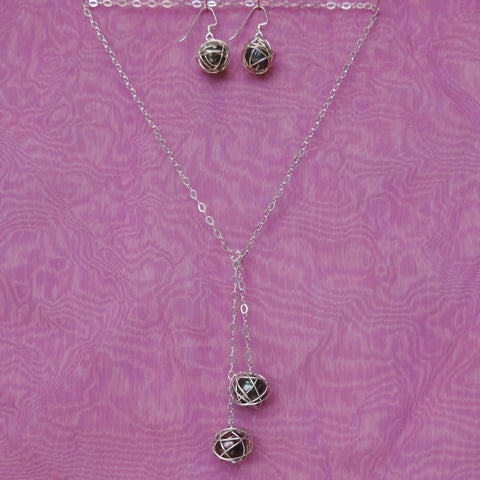 Lariat Set - Peacock/Pewter Pearls