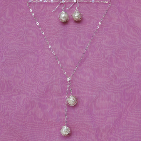 Lariat Set - White Pearls
