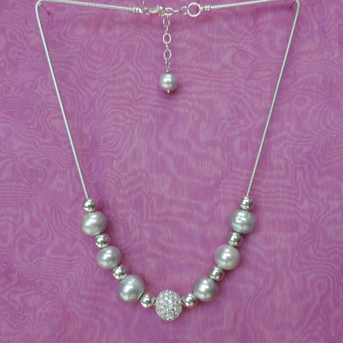 Silver Pearls on Caprice Chain