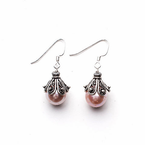 Large Capped Earrings - Natural Pink