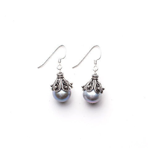 Large Capped Earrings - Silver