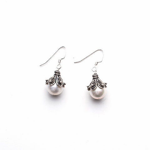 Large Capped Earrings - White