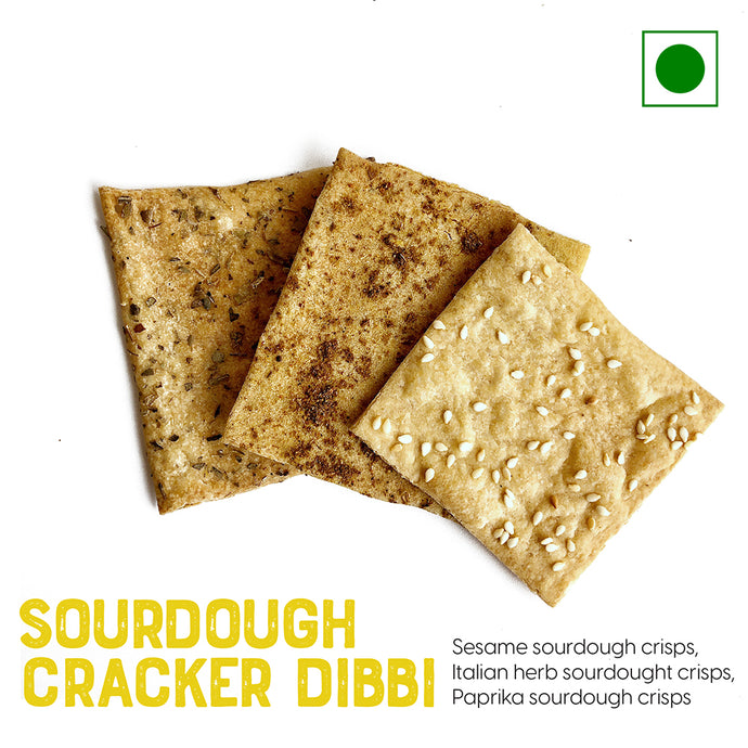 Sourdough crisps with olive oil and Sesame, Italian, and Paprika seeds | Buy Sourdough Breads online