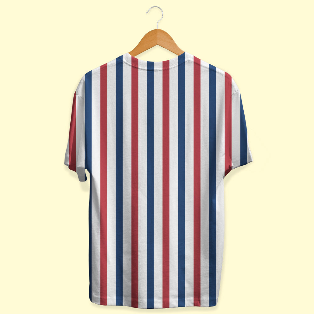 Red, White and Navy Blue Stripes Unisex T-Shirt | Bling Fling India