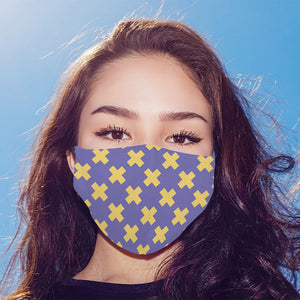 Yellow Cross Printed Mask For Men and Women