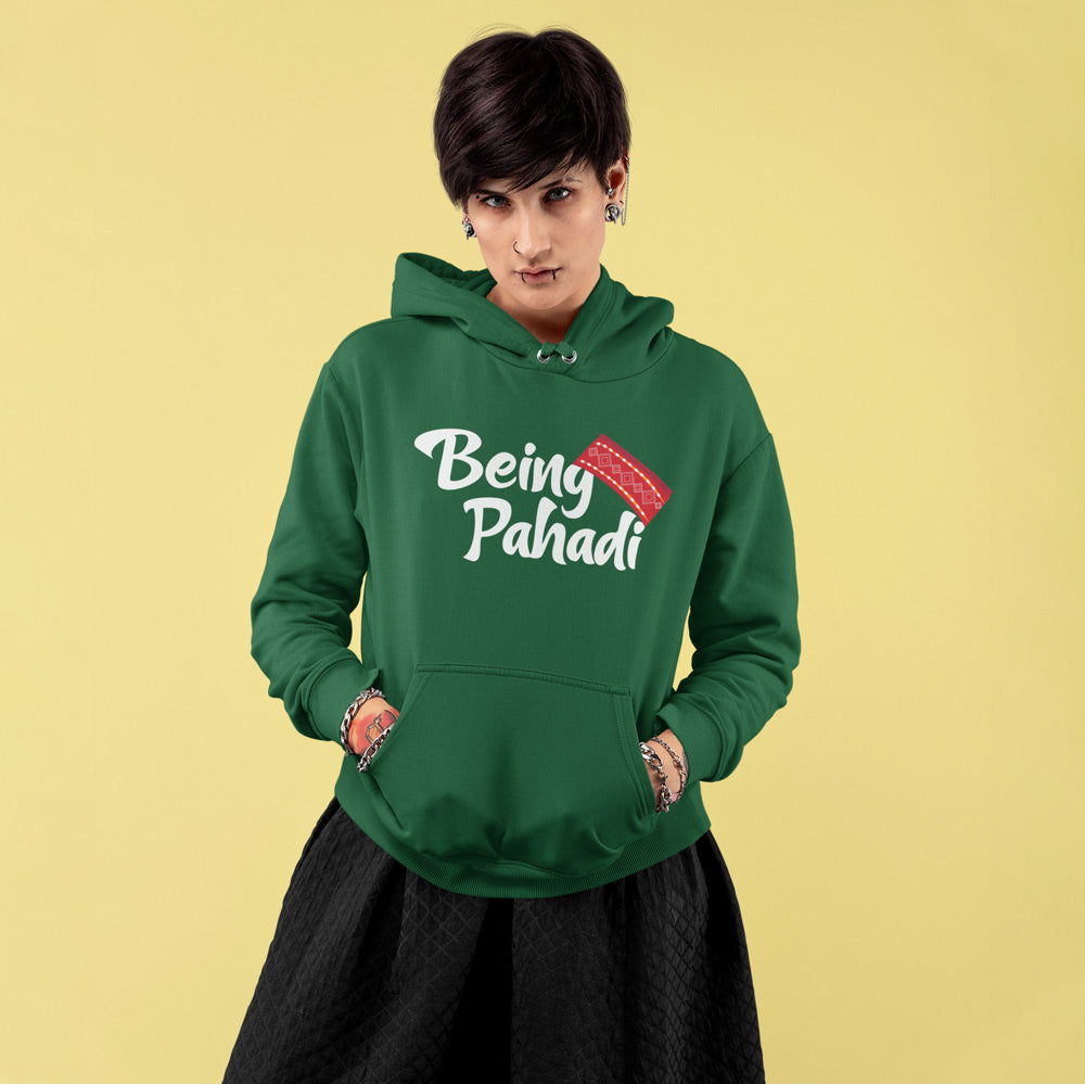 Being Pahadi Premium Unisex ark Green Hoodie