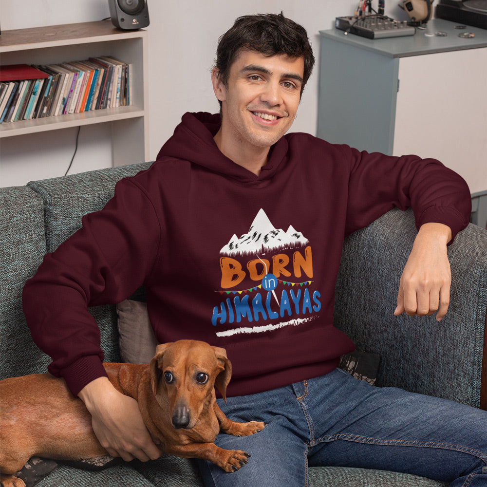 Born In Himalayas Maroon Premium Mens Hoodie | Bling Fling India