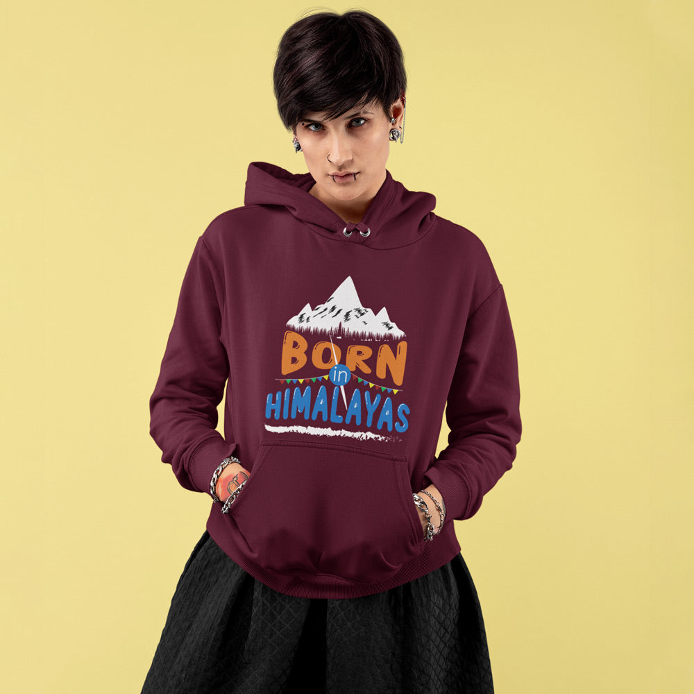 Born In Himalayas Maroon Premium womens Hoodie | Bling Fling India