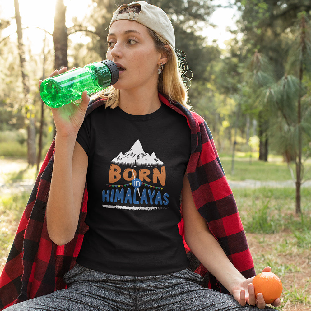 Born In Himalayas Women's Round Neck T-Shirt
