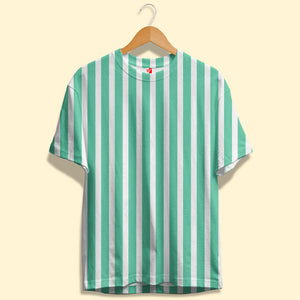 White and Green Stripes Unisex T-Shirt| Bling Fling India