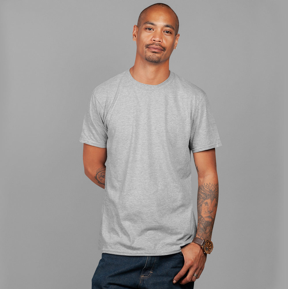 Men's Premium Round Neck Plain T-Shirt Grey.