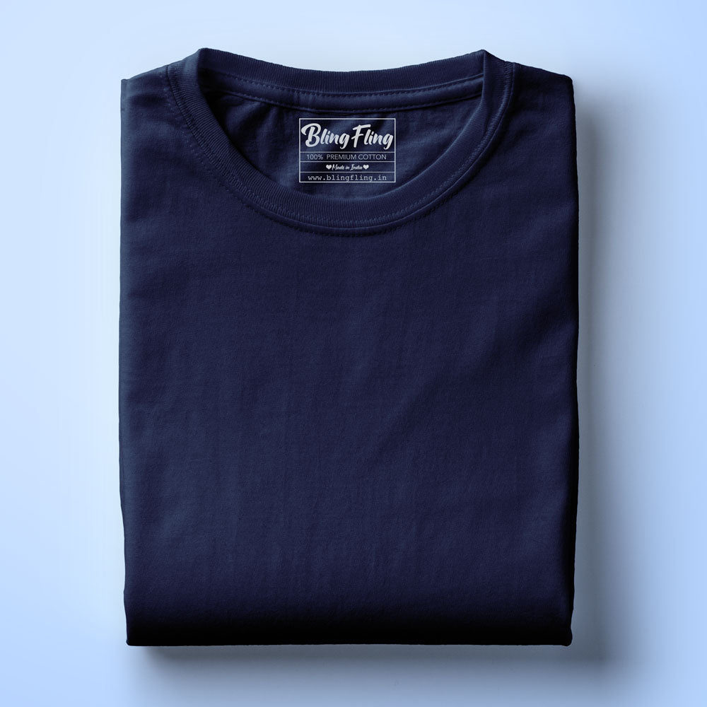 Men's Premium Round Neck Plain T-Shirt Navy Blue
