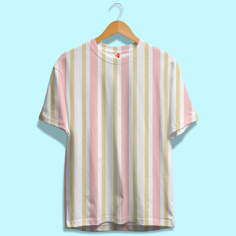 White, Pink and Gold Stripes Unisex T-Shirt | Bling Fling India